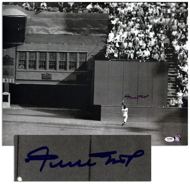 Willie Mays Signed Photo Measuring 20'' x 16'' -- With PSA/DNA COA