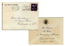 President Truman White House Invitation -- With White House Envelope