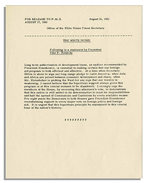 JFK Statement Urging Congress to Halt Communism and ''Castroism'' and Reverse the Vote on Foreign Aid -- 16 August 1961