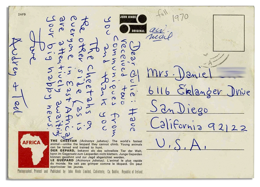 Dr. Seuss Handwritten Postcard -- During a Trip to East Africa
