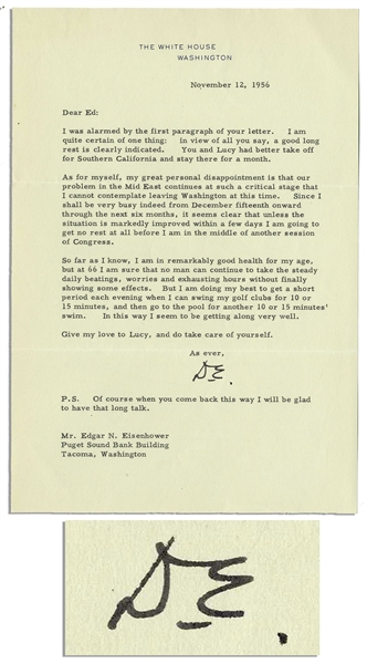 Dwight D. Eisenhower 1956 Typed Letter Signed as President -- ''...I am sure no man can continue to take the steady daily beatings...without finally showing some effects...''