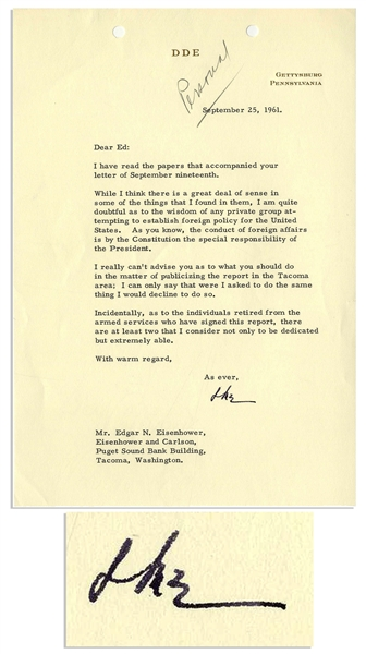 Dwight Eisenhower Typed Letter Signed to His Brother Edgar -- ''...I am quite doubtful as to the wisdom of any private group attempting to establish foreign policy for the United States...''