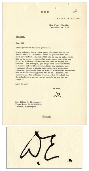Dwight D. Eisenhower Typed Letter Signed as President -- To His Brother Edgar -- ''...you desire to see the extreme fringes of the New Deal and the ADA back in power...''