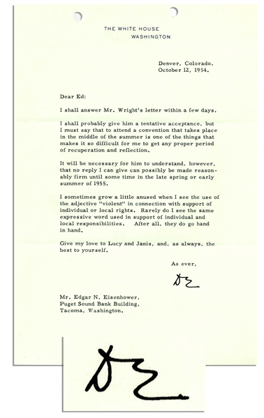 Dwight Eisenhower Typed Letter Signed as President -- ''...when I see the use of the adjective 'violent' in connection with support of individual or local rights...''