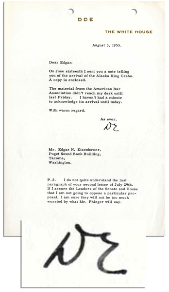 Dwight Eisenhower Presidential Typed Letter Signed -- ''...I sent you a note telling you of the arrival of the Alaska King Crabs...'' -- 1955