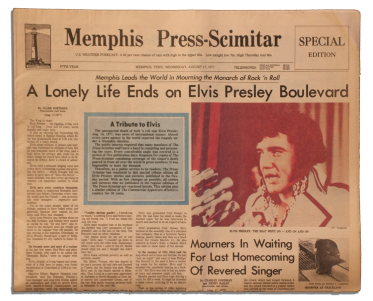 Elvis Presley Newspaper on His Death -- Special Edition From Memphis, Elvis' Hometown, Following His 16 August 1977 Death