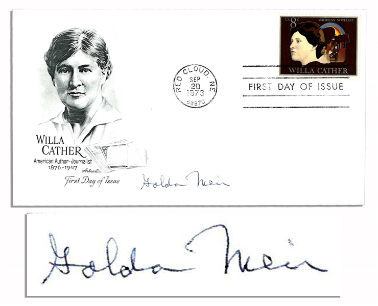 Golda Meir Signed First Day Cover as Israeli Prime Minister -- Cover Honoring Willa Cather Is Postmarked 20 September 1973 -- Near Fine