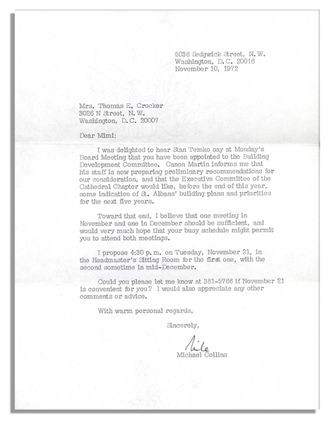 Typed Letter Signed by American Astronaut Michael Collins -- Nice Signature From Apollo 11 Flight Member