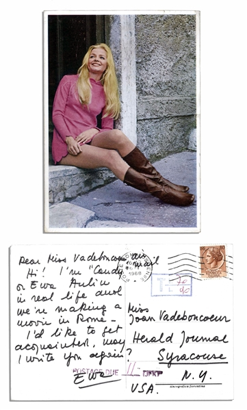 Photo Postcard From Ringo Starr's 1968 Sex Farce ''Candy'' -- Costar Ewa Aulin Writes ''...We're making a movie in Rome...''