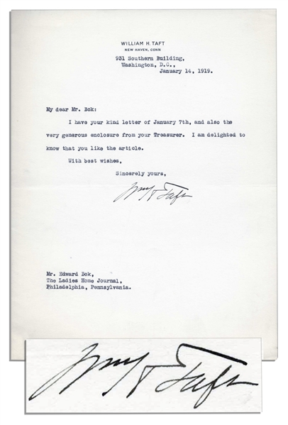 William Taft Typed Letter Signed to Editor Edward Bok -- Acknowledging Receipt of Payment for an Article
