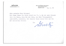 Karl Donitz Typed Letter Signed -- Hitlers Successor in Nazi Germany