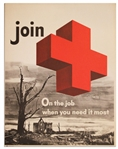 Vintage Red Cross Poster -- On The Job When You Need It Most