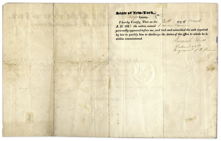 DeWitt Clinton Document Signed as New York Governor -- 1827 Military Appointment