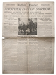 William McKinley Assassination Newspaper From Buffalo, Where He Was Shot -- Covers Final Moments & Autopsy Results -- The bullet has not yet been found...