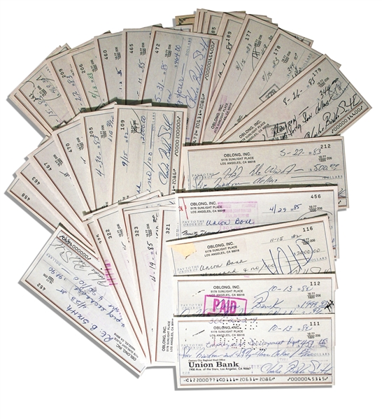 Lot of 50 Checks Signed by Charles ''Bubba'' Smith -- All Signed With His Name & Nickname, ''Charles Bubba Smith'' -- Very Good Condition
