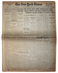 The New York Times From 30 August 1939 -- Berlin Hopeful For Peace -- Two Days Before WWII