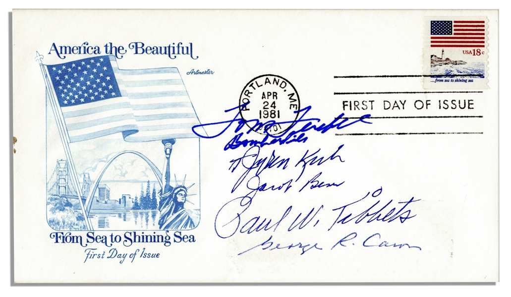 Enola Gay Crew Members Signed Cover -- Paul Tibbets, Dutch Van Kirk, Tom Ferebee, Jacob Beser & Dick Nelson
