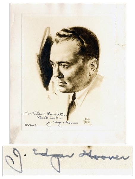 J. Edgar Hoover Signed Portrait Print -- From a 1939 Sketch by Cartoonist Paul Frehm -- Signed ''To Ellen Hamilton / Best wishes / 12.8.42 / J. Edgar Hoover'' -- 9.25'' x 11''  -- Very Good