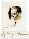 J. Edgar Hoover Signed Portrait Print -- From a 1939 Sketch by Cartoonist Paul Frehm -- Signed To Ellen Hamilton / Best wishes / 12.8.42 / J. Edgar Hoover -- 9.25 x 11  -- Very Good