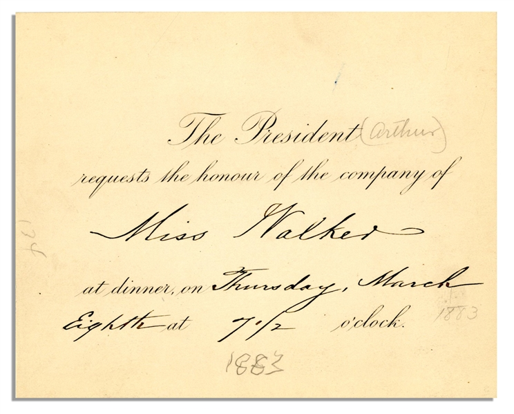 Chester Arthur Presidential Invitation