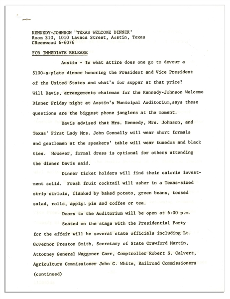 Press Kit for the JFK Texas Welcome Dinner Scheduled for the Night of His Assassination