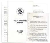 Press Kit & Working Program for the Dinner Welcoming JFK to Texas the Night of His Assassination