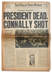 Late Edition of the 22 November 1963 Dallas Times Herald Announcing Assassination of JFK -- PRESIDENT DEAD / CONNALLY SHOT