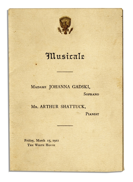 Taft Presidential Invitation to a Musical Performance at the White House -- 1912