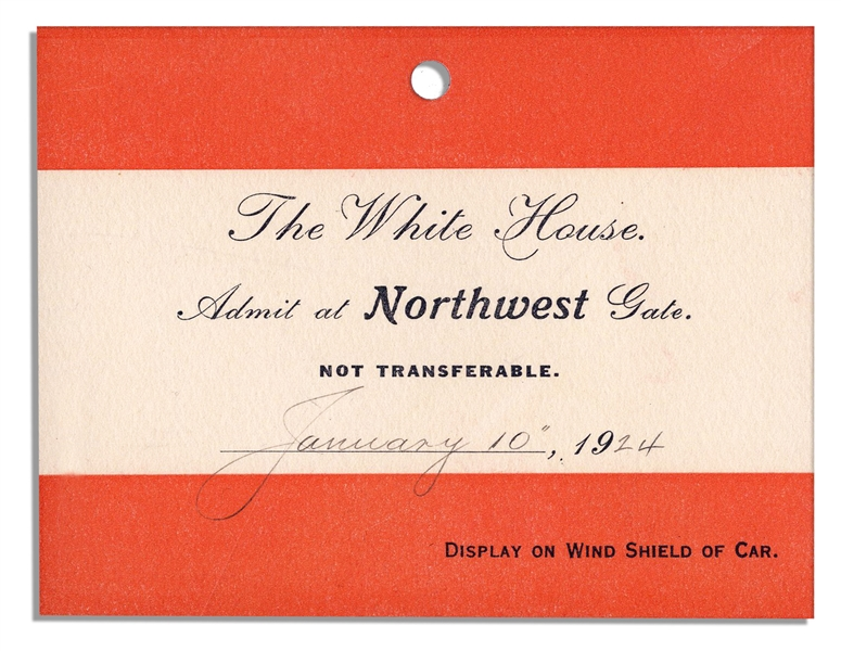 Invitation to The Coolidge White House & Pass for Parking -- 1924