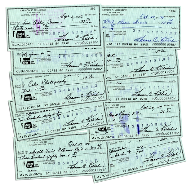 Harmon Killebrew Lot of 10 Signed Checks