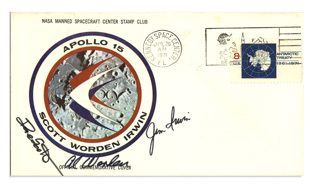 Apollo 15 Crew-Signed Astronaut Insurance Cover -- Signed ''Al Worden'', ''Dave Scott'' & ''Jim Irwin'' -- Cancelled 26 July 1971 -- 6.5'' x 3.75'' -- Near Fine -- With COA From Worden