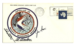 Apollo 15 Crew-Signed Astronaut Insurance Cover -- Signed Al Worden, Dave Scott & Jim Irwin -- Cancelled 26 July 1971 -- 6.5 x 3.75 -- Near Fine -- With COA From Worden