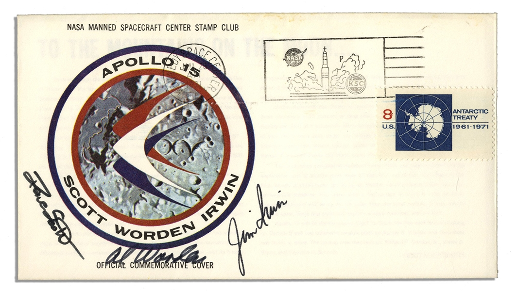 Apollo 15 Crew-Signed NASA-Issue Astronaut Insurance Cover -- ''Al Worden'', ''Dave Scott'' & ''Jim Irwin'' -- Cancelled 26 July 1971 -- 6.5'' x 3.75'' -- Near Fine -- With COA From Worden