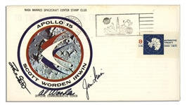 Apollo 15 Crew-Signed NASA-Issue Astronaut Insurance Cover -- Al Worden, Dave Scott & Jim Irwin -- Cancelled 26 July 1971 -- 6.5 x 3.75 -- Near Fine -- With COA From Worden