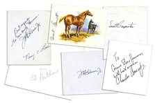 Excellent Collection of 6 NASA Astronaut Signatures on Greeting Cards -- Includes Several of the Mercury 7