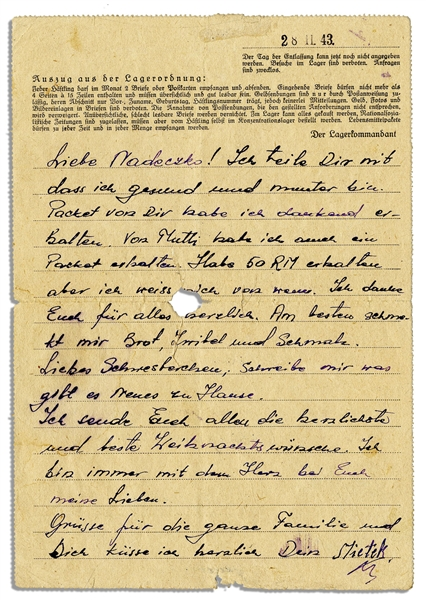 Concentration Camp Victim at Ravensbrueck Writes in 1943 -- ''...I feel healthy and lively...I send you all the warmest and best wishes of the Lord...''
