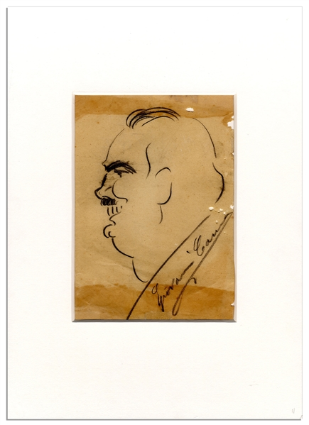 Art by Opera Great Enrico Caruso -- Signed Bust Sketch in Profile of Caruso Is Likely Him in Character