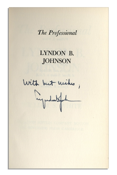 Lyndon B. Johnson Uninscribed Signed First Edition of ''The Professional''