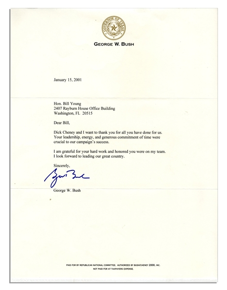George W. Bush Typed Letter Signed as President-Elect -- ''...Dick Cheney and I want to thank you for all you have done for us...''