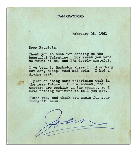 Joan Crawford Typed Letter Signed -- ''...I've been Barbados where I did nothing but eat, sleep, read and swim. I had a divine rest...'' -- 1961