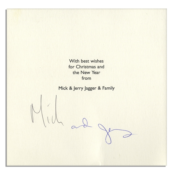 Mick Jagger & Jerry Hall Signed Christmas Card