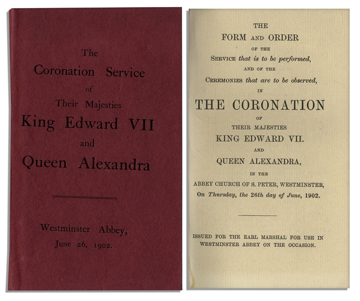 Program From the Coronation of King Edward VII & Queen Alexandra -- Fine