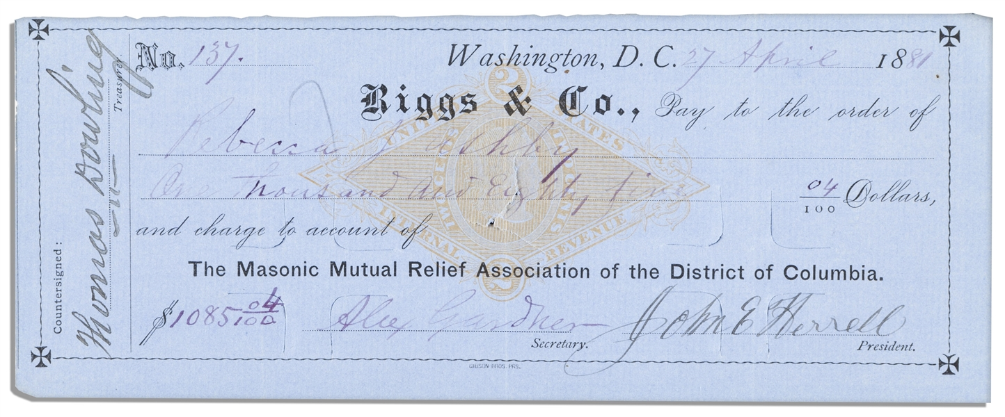 Civil War Photographer Alexander Gardner Signed Check