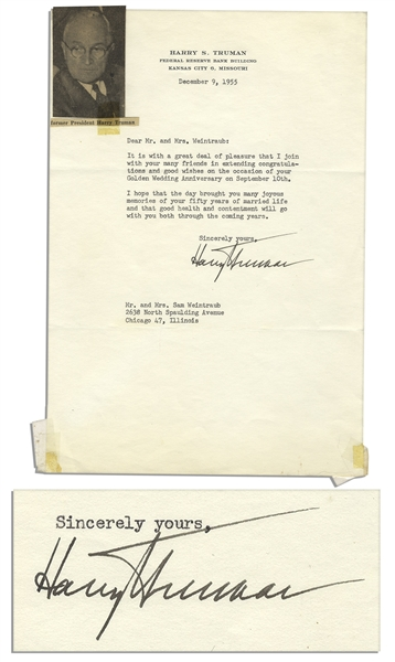Harry S. Truman Typed Letter Signed from 1955 -- ''...good wishes on the occasion of your Golden Wedding Anniversary...''