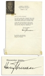Harry S. Truman Typed Letter Signed from 1955 -- ...good wishes on the occasion of your Golden Wedding Anniversary...