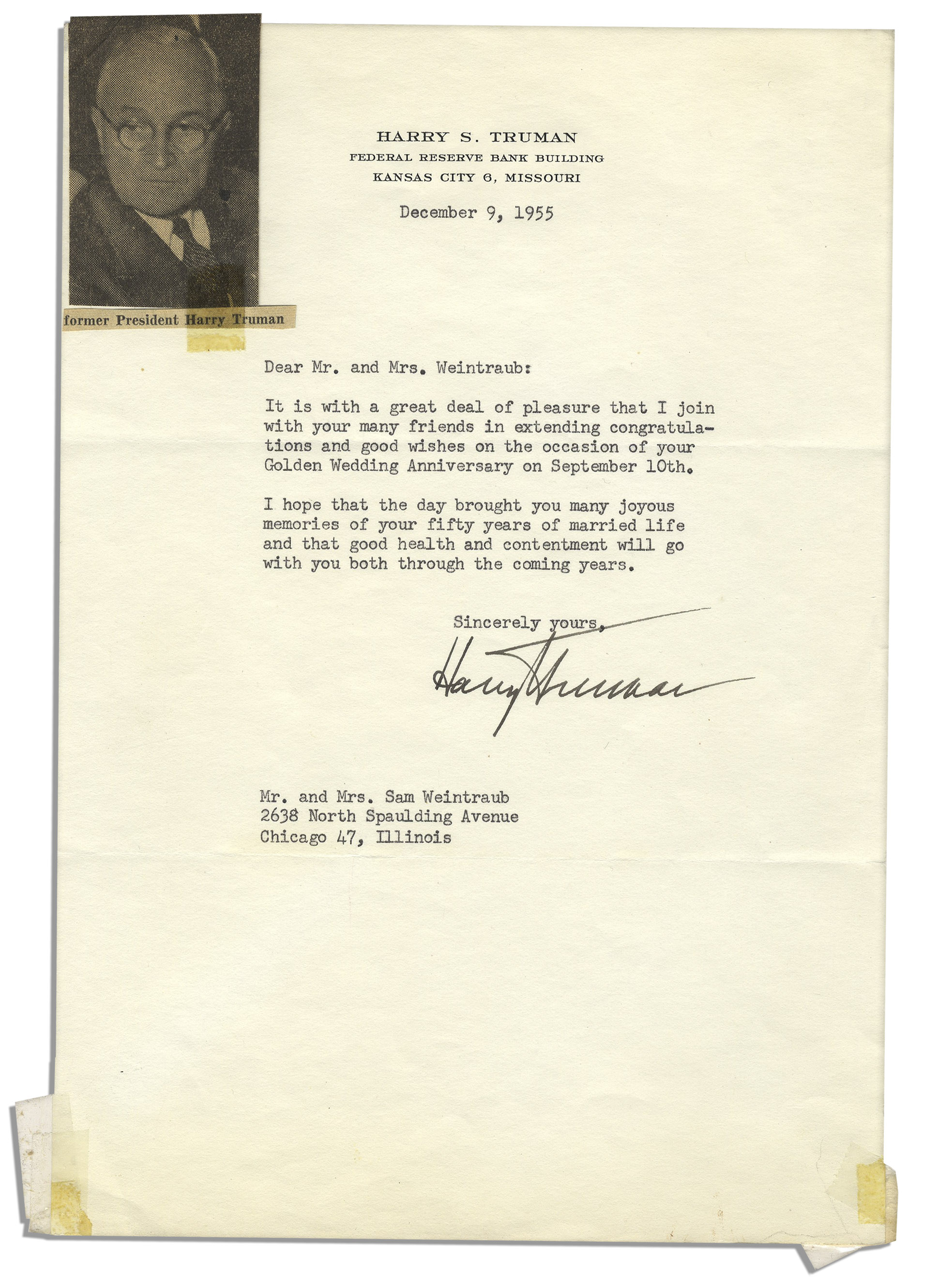 harry s truman typed letter signed from 1955