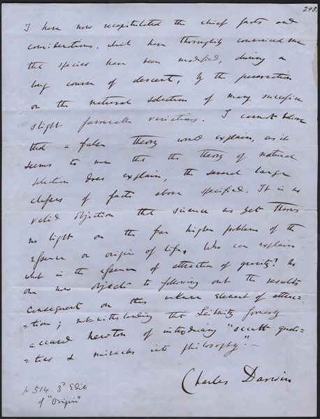 Charles Darwin Signed, Handwritten & Powerful Conclusion Page From ''Origin of Species'' -- ''...science as yet throws no light on the far higher problem of the essence or origin of life...''