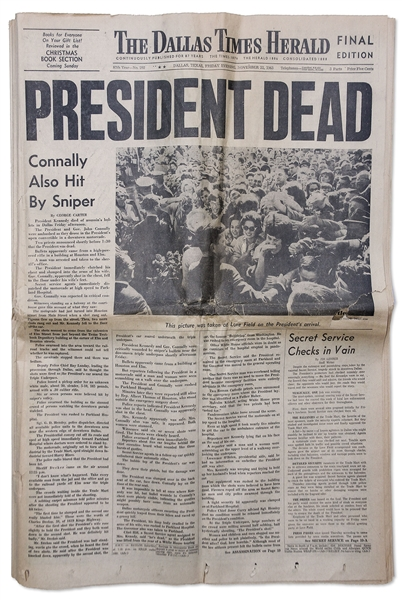 JFK Assassination Newspaper -- Complete 22 November 1963 Edition of ''The Dallas Times Herald'' -- Headline, ''PRESIDENT DEAD''