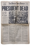 JFK Assassination Newspaper -- Complete 22 November 1963 Edition of The Dallas Times Herald -- Headline, PRESIDENT DEAD