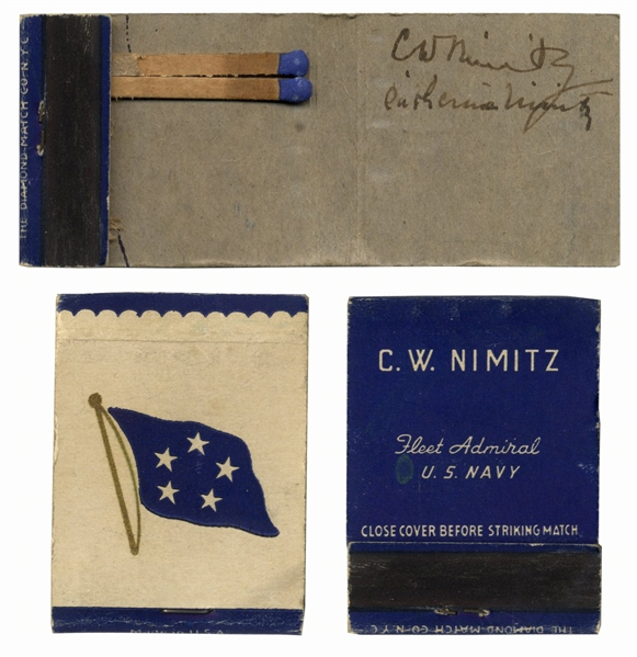 Fleet Admiral Chester Nimitz Signed Matchbook -- Matchbook Is Personalized With Nimitz' Name and Rank